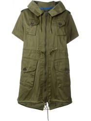 Diesel Drawstring Waist Hooded Military Jacket Green