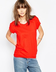The Furies Mandarin Loose Fit T Shirt Rubyred