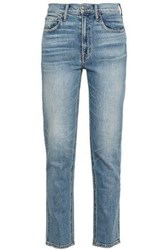 Vince Distressed High Rise Slim Leg Jeans Mid Denim