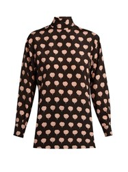 Lanvin Carnation Print Long Sleeved Silk Blouse Pink Multi