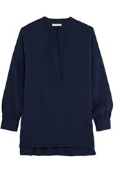 Vince Stretch Silk Blouse Navy