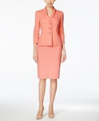 Le Suit Three Button Shawl Collar Skirt Suit Pink Sand