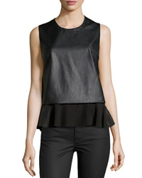Madison Marcus Faux Leather Ruffle Hem Tank Black