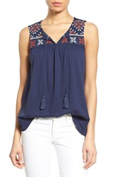 Women's Caslon Embroidered Boho Tank
