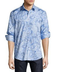 1 Like No Other Leaves Print Sport Shirt Navy