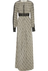 Temperley London Helm Embroidered Checked Silk Crepe Maxi Dress Black