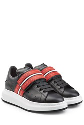 Alexander Mcqueen Leather Sneakers With Strap And Thick Soles Multicolor