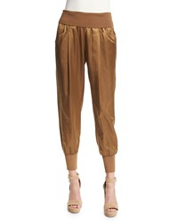 Donna Karan Pleated Front Jogger Pants Paper Bag