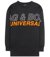Rag And Bone Moto Oversized Printed Sweatshirt Black
