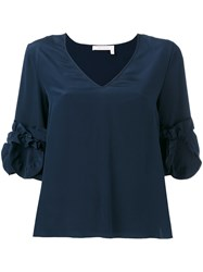 See By Chloe Frilled Sleeve Top Blue