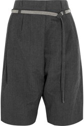 Brunello Cucinelli Embellished Wool And Linen Blend Shorts Dark Gray