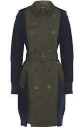 Sacai Ribbed Knit Cotton And Gabardine Trench Coat Army Green