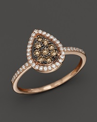 Bloomingdale's Brown And White Diamond Pear Shaped Ring In 14K Rose Gold .40 Ct. T.W. Multi