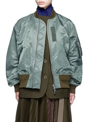 Sacai Double Layer Flannel And Nylon Bomber Jacket Green