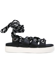 N 21 No21 Lace Up Sandals Women Leather Rubber 37 Black