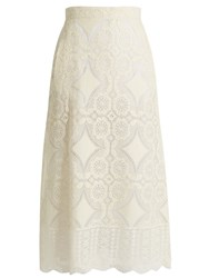 Hillier Bartley High Rise Floral Lace Midi Skirt Cream