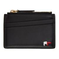 Maison Kitsune Black Tricolor Logo Leather Zipped Cardholder