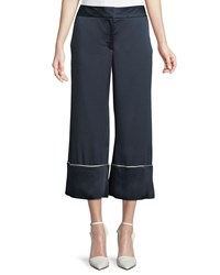 Monse Wide Leg Satin Ankle Pajama Pants With Piping Navy