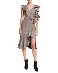 Self Portrait O Ring Wool Check Midi Wrap Dress W Asymmetric Frill Multi