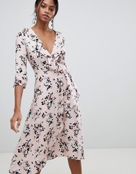 Liquorish Floral Print Wrap Midi Dress Pink