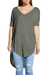 Women's Two By Vince Camuto V Neck Slub Knit Dolman Sleeve Tunic Sage