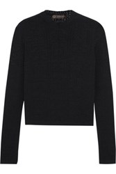 Versace Perforated Stretch Knit Top Black