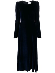 Black Coral Velvet Puffed Shoulder Dress 60