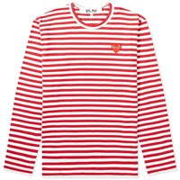 Comme Des Garcons Play Long Sleeve Heart Stripe Logo Tee Red