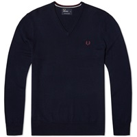 Fred Perry Classic V Neck Sweater Dark Carbon