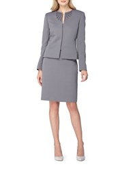 Tahari By Arthur S. Levine Embroidered Jewel Neck Kissing Jacket Skirt Suit Sultry Silver