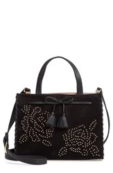 Kate Spade New York Hayes Street Rose Studs Suede And Leather Satchel Black