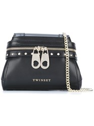 Twin Set Zip Detail Shoulder Bag Black