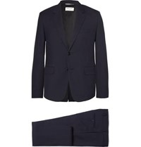 Saint Laurent Blue Slim Fit Virgin Wool Gabardine Suit Navy
