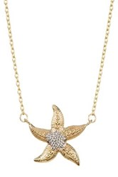 10K Yellow And White Gold Starfish Pendant Necklace Multi