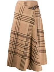 Ralph Lauren Collection Plaid Midi Skirt Brown