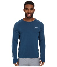 Nike Dri Fit Sprint Crew Blue Force Dark Obsidian Reflective Silver Men's Long Sleeve Pullover