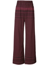 Cecilie Copenhagen High Waisted Palazzo Pants Women Cotton 1 Red