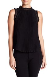 Gracia Pleated Lace Sleeveless Tank Black