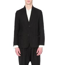 Isabel Benenato Regular Fit Single Breasted Linen Blazer Black
