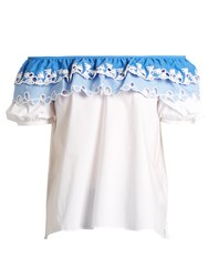 Peter Pilotto Broderie Anglaise Off The Shoulder Top White