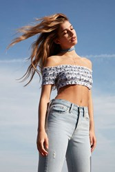 Pins And Needles Ruched Off The Shoulder Cropped Top Blue