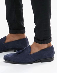 Dune Tassel Loafers In Navy Suede Blue