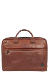 Knomo London Barbican Foster Leather Briefcase Brown