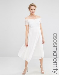 Asos Maternity Lace Bardot Pleated Mesh Skater Skirt Ivory White