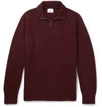 Kingsman Wool And Cashmere Blend Half Zip Sweater Burgundy
