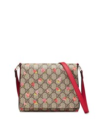 Gucci Girls' Strawberry Print Gg Supreme Canvas Messenger Bag Beige Multicolor Beige Multi