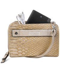 Kenneth Cole Reaction Strap Wallet With Battery Charger Antique Snake