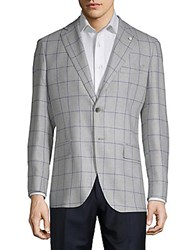 Lubiam Window Wool And Silk Sportcoat Light Grey