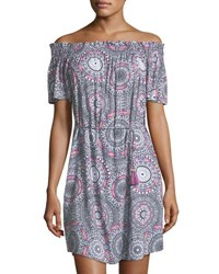 Seafolly Off The Shoulder Printed Coverup Mini Dress Multi