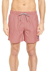 Ted Baker London Caven Geo Print Swim Trunks Red